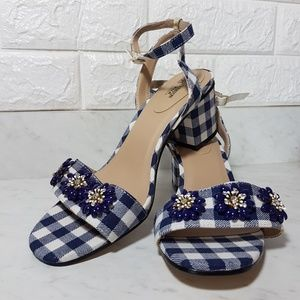Avon Shoes - Avon  Sandal with Stone Clusters Blue Gingham